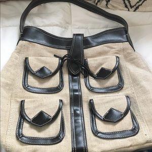 Vintage Banana Republic Linen Shoulder Bag